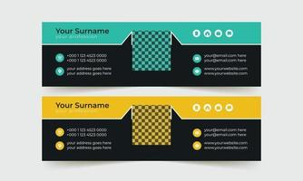 Black and yellow email signature template vector