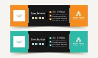 Modern minimal email signature vector template design