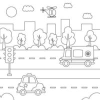 Black and white city landscape with cartoon transportation. vector
