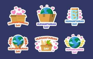 Humanitarian Day Sticker Collection vector