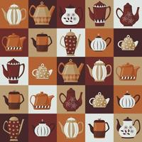 Seamless pattern with teapots in brown tones. Coffee theme. vector