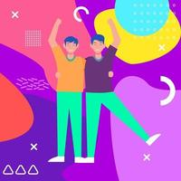 illustration of two people on an abstract background vector