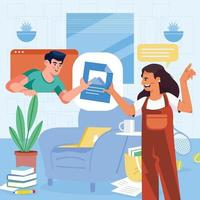 Man and Woman Share Files Online vector