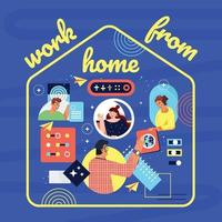 People Working From Home Exchange Files Together vector