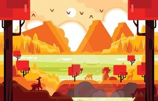 Magical Jungle with River and Mountain Deer Background vector