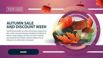 Autumn sale and discount week, banner with mushrooms and autumn leaves vector
