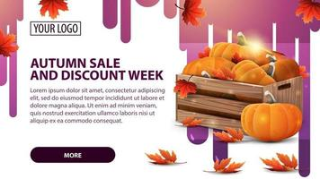 Autumn sale and discount week, banner with ripe pumpkins vector