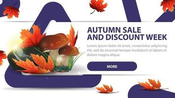 Autumn sale and discounts week, modern discount banner with mushrooms vector