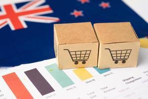 Box with shopping cart logo and New Zealand flag, photo