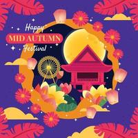 Asian Temple with Flowers on Mid Autumn Festival vector