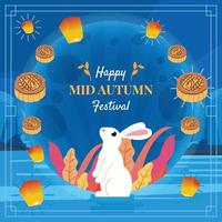 Rabbit and Moon Cake Elements of Mid Autumn Festival vector