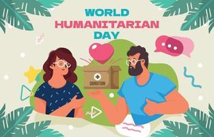 Man Give Donation in World Humanitarian Day vector