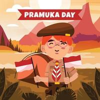 Boy scout sostiene banderas de Indonesia mientras acampa vector