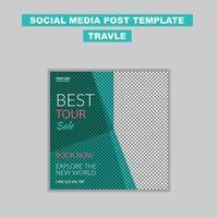 Diseño de plantilla de publicación de redes sociales de viajes. diseño de banner de redes sociales vector