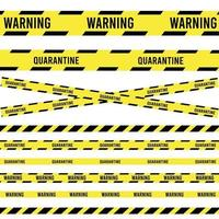 Ribbon banner with warning tape. Police line set. caution, attention vector