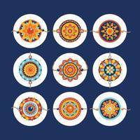 Rakhi Design Elements for Raskha Bandhan Festival vector