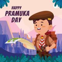 boy scout lee un mapa el día de pramuka vector