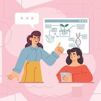 Woman Study Science Via Online Course Concept vector