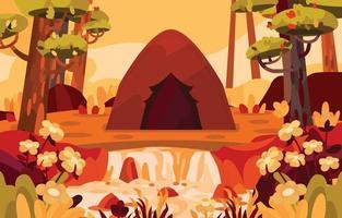 acampando en el hermoso bosque otoñal cerca del río vector