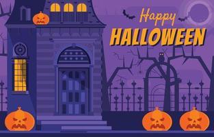 Creepy House With Scary Pumpkins on Halloween vector