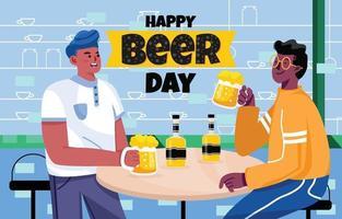 Two Friends Drink Beer in Pub vector