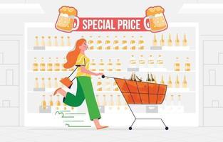 Woman Buy Liquor on Beer Day Promo vector