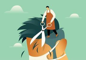 Hairdresser cutting hair illustration concept vector