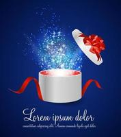 Open Gift Box with Ribbon and Magic Light Fireworks Vector Illus