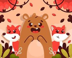 Autumn Nature with Bear and Fox vector