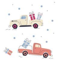 coches con regalos para las vacaciones. vector