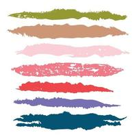 Various strokes of color paint on white background - Vector