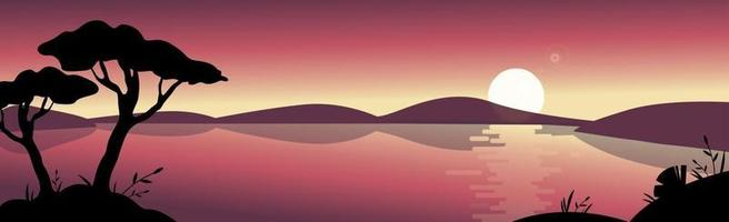 Panoramic mountain bright sunny landscape with a large lake - Vector