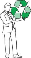 Businessman holding big green recycle sign vector