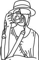 Woman tourist taking photos vector illustration sketch