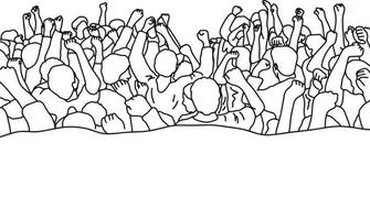 drawing crowd of people raise their hands over heads vector