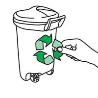 close-up hand holding green recycle sign on trash bin vector