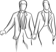 businessman and businesswoman holding hand vector