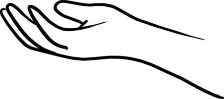 doodle hand gesture of giving vector