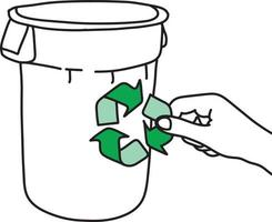 hand holding green recycle sign on trash can vector