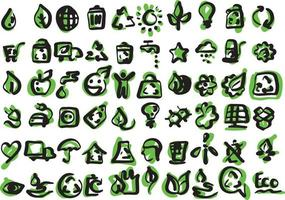 ecology icons set vector illustration sketch hand drawn