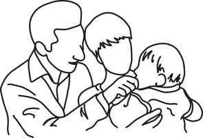 father and mother holding their baby in arms vector