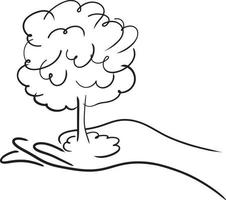 hand holding a tree or atomic bomb vector