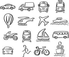 icons of transportation set with gray shadow vector