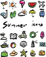 colorful summer icons vector illustration