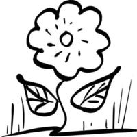 flower plant with two leaves vector illustration