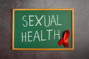 world health day text on blackboard photo