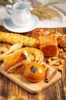 Bread On Wood Background photo