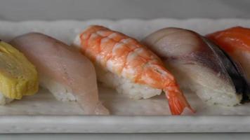 Mixed fresh raw nigiri sushi video