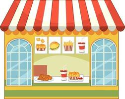 Front of fast food store isolated vector