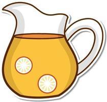 Sticker pitcher of orange juice on white background vector